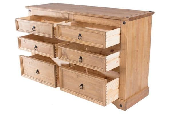 Puebla Waxed Pine 3+3 Drawer Wide Chest CR513